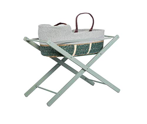 moKee Soft Seagrass Moses Basket with Stand, Turquoise