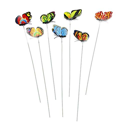 Ndier 10 Pezzi Giardino Farfalle su Sticks Miniatura Fata Giardino colorato Farfalle su Sticks Fiore Vaso Decorativo Craft Giardino Decorazione