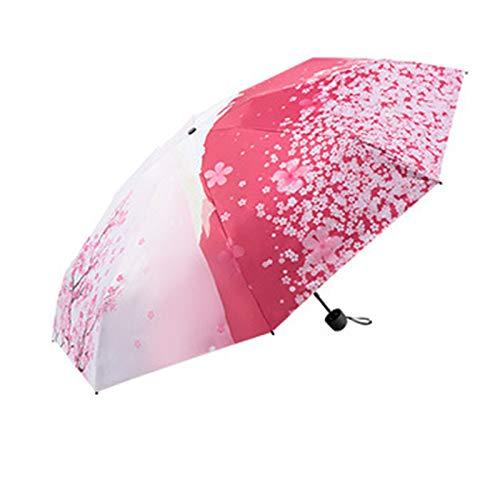 YTO Sakura Mini Paraguas de Bolsillo de Doble Uso, protección Solar y Paraguas de protección UV