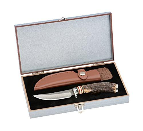 Ganli Überlebensmesser, Gürtelmesser, Outdoor/Survival Messer, Jagdmesser, japanischer Damaststahl, 67 Lagen,Geweihgriff+Ledertasche+Holzbox,Sammelsstück (004)