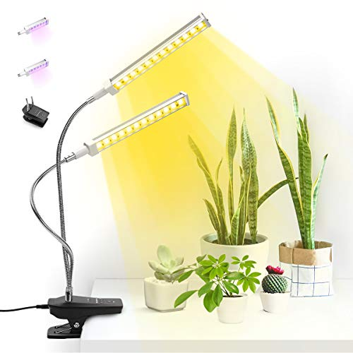 Seedfactor Super Bright 96 LEDs Sunlight Full-Spectrum Grow Lamp & 96 LEDs Red-Blue Spectrum Bulbs, Auto On & Off 3/6/12 Timer, Dual Head Adjustable Gooseneck Desk Plant Light, Replaceable Bulb