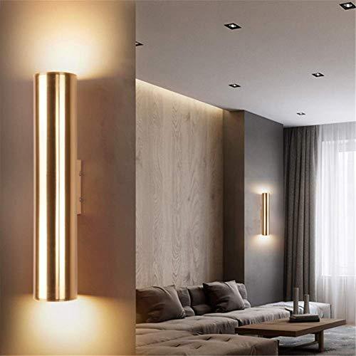 Lámpara de pared con luz hacia arriba y hacia abajo, retro, champán, metal dorado, aluminio, latón pulido, lámpara de pared, LED para el cuidado de los ojos, 3 W, luz cálida, para la casa, sala de est