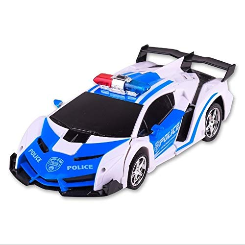 Lowest Prices! PETRLOY Birthday Gifts for Kids Ages 4-14,1/18 Police Toy Car Remote Control Deformat...