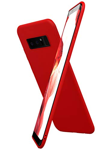 ONEFLOW Slim Hülle Kompatibel mit Samsung Galaxy Note8 Handyhülle Stoßfest und Minimalistisch, Ultra Dünne Bumper Design Handy Schutzhülle Matt, Leichte Hülle aus Silikon - Rot