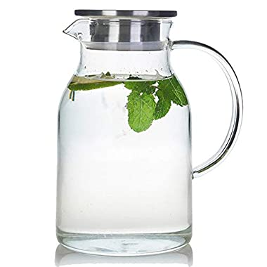68 Ounces Glass Pitcher with Lid, Heat-resistant Water Jug for Hot/Cold Water, Ice Tea and Juice Beverage