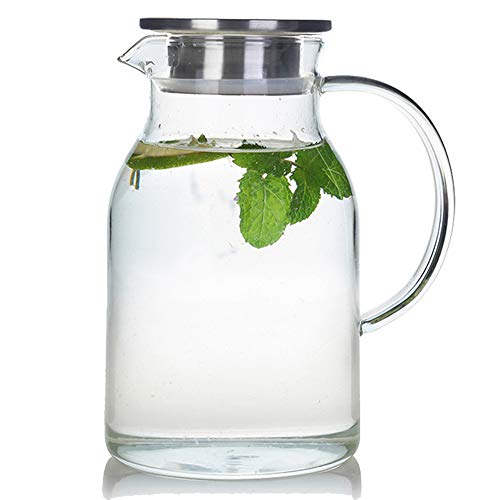 68 Ounces Glass Pitcher with Lid, Heat-resistant Water Jug for Hot/Cold Water, Ice Tea and Juice...