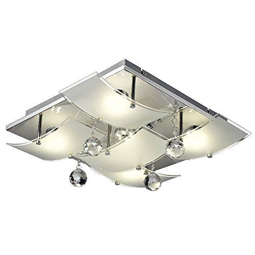 Kristall-Deckenleuchte mit LED-Leuchtmittel (Glas-Kristall, 5 x 5 Watt, 46 cm, Deckenlampe für Wohnzimmer oder Schlafzimmer)