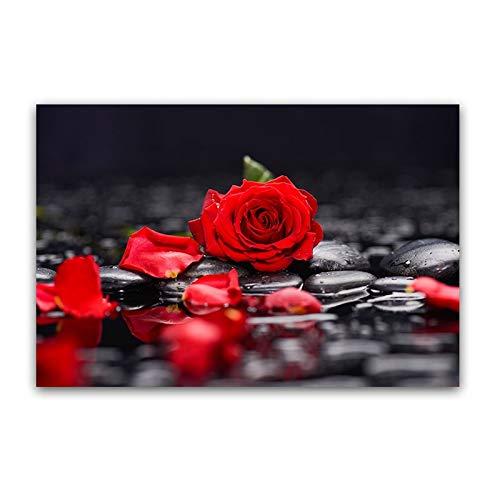 Leinwand Kunst Malerei Rote Rose Blume Landschaft Poster und Drucke Schwarz Weiß Modernes Wandbild, Für Schlafzimmer Und Wohnzimmer Home Decoration Kein Rahmen (Size : 60X90CM No Frame)
