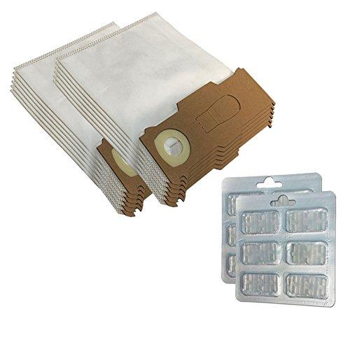Sparset 12 Mikrovlies Staubsaugerbeutel + 12 Duftsteine geeignet für Vorwerk Kobold VK 130 131 SC - VK130, VK131 - FP 130 131 - mit Spezial-Vlies