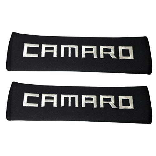 Comfortt 2pcs Car Interior Accessories White Camaro Wording Stitching Black Pad Seat Belt Cover Compatible Fit for Chevrolet Camaro ZL1