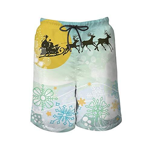 Herren Strandhose Heiligabend Szene Santa Claus Schlitten Silhouette Herren Bademode Farbe Beach Shorts, inklusive 5 Größen Gr. XXL, Farbe1