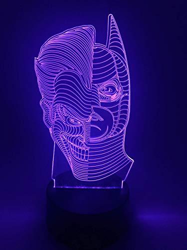 Lámpara de ilusión de luz nocturna LED 3D Lámpara de decoración con 16 cambios de color Regalos perfectos para niños (Batman y Joker)