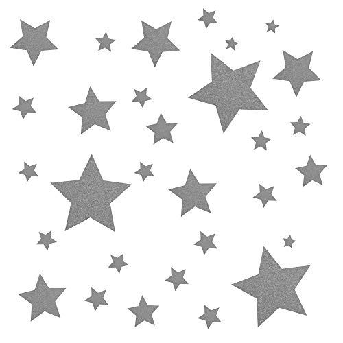 30 Stück silberne Sterne Aufkleber, Fensterdekoration zu Weihnachten Fensterbild/Fensteraufkleber, Wandtattoo