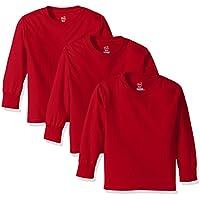 3-Pack Hane's Big Boys Tagless Long Sleeve Tee (Deep Red)
