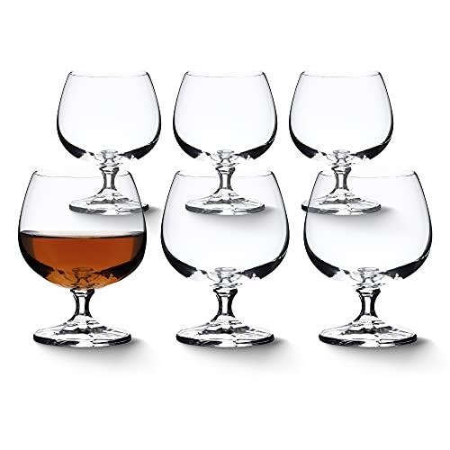 KADAX Cognacgläser, 6er Set, Cognacglas mit Stiel, minimalistische Gläser, Cognakschwenker für Alkohol, Brand, Shot, Brandyglas für Party (250ml, 6 Stück)