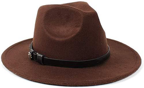 XJIUER hat Damenhut Trendige Herren Damen Wolle Fedora Hüte Abschlussballhüte lässig Wilde Kirchenhüte Panamaischer Jazz bequemer dunkler Kaffee_56-58