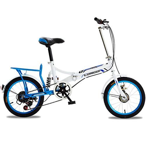 Plegable De La Bicicleta De Ultra Ligero Portátil Variable Edad Hombres Y Mujeres Pequeño Pequeño Velocidad Ruedas De 16 Pulgadas De Bicicletas Estudiante De Bicicletas (Color : Blue)