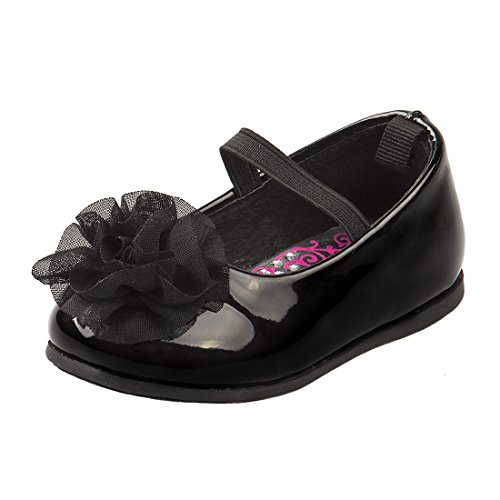 Josmo Baby Girl's Patent Dressy Shoe with Chiffon Flower (Infant, Toddler), Size 3 Infant, Black Patent