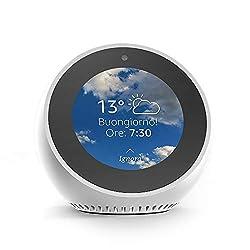 Echo Spot è progettato per adattarsi a qualsiasi ambiente in casa tua. Grazie al controllo vocale a lungo raggio, potrai guardare notiziari, vedere che tempo fa, consultare le tue Liste della spesa e di cose da fare e molto altro ancora. E senza usar...