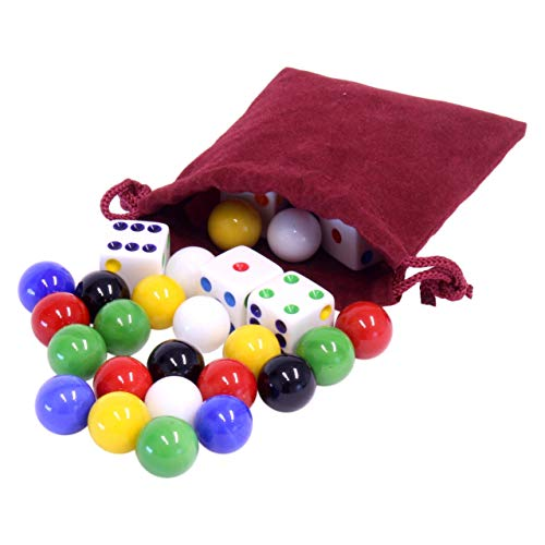 Game Bag of 24 Replacement Glass Marbles (9/16' Diameter) and 6 Dice for Aggravation Game