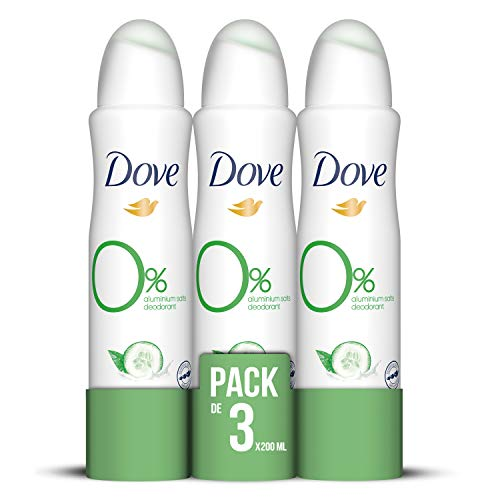 Dove 0% Desodorante Pepino - Pack de 3 x 200 ml - Total: 600 ml
