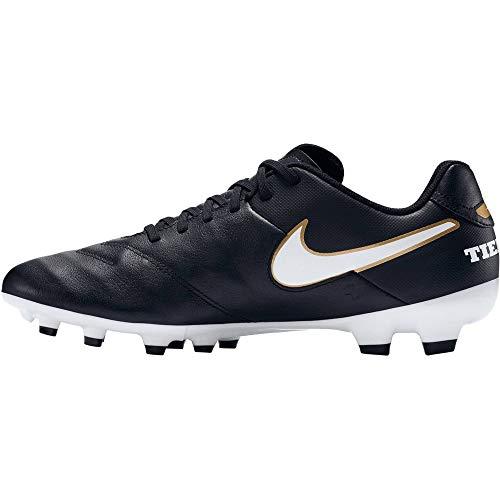 Nike Herren TIEMPO GENIO II LEATHER FG 819213 010 Fußballschuhe, Schwarz (Black/White-metallic Gold), 40.5 EU