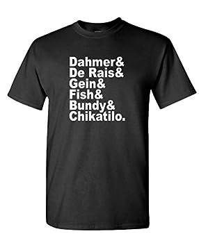 Serial Killer Names Dahmer Bundy Fish gein - Mens Cotton T-Shirt M Black