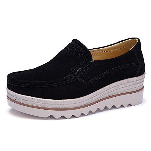 Z.SUO Mujer Mocasines de Cuero Gamuza Moda Loafers Casual Zapatos(38 EU,Negro)