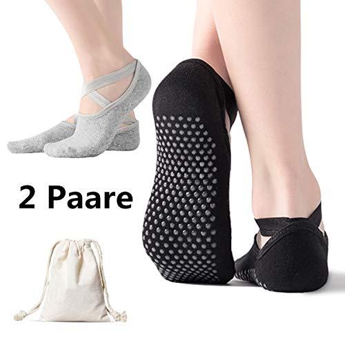 AmazeFan rutschfeste Yoga Socken für Damen,Ideal für Pilates,Barre,Ballett,Tanz,Outdoor Sport Workout,Schwarz und Grau 2 Paare