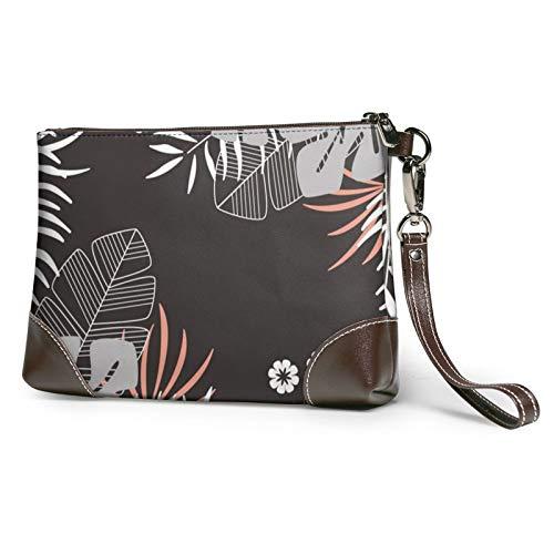 MGBWAPS Hawaii leaves Embrague, bolso de embrague de cuero, bolso cosmético, bolso de embrague muñequeras, (Como se muestra), Talla única