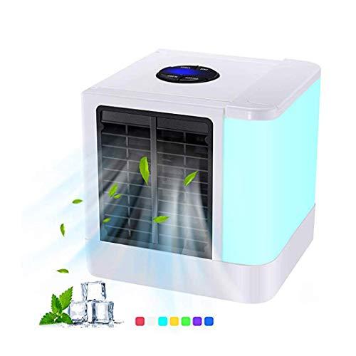Mini-ventilator, kleine desktopventilator, mobiele mini, draagbare mini-airconditioning, instelbare snelheid, usb persoonlijke luchtconditioner met led-nachtlampje voor thuis, kantoor, slaapkamer, kinderen, etc.