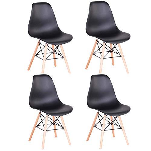 Pack 4 sillas de Comedor Silla diseño nórdico Retro Estilo (4 sillas-Negro)