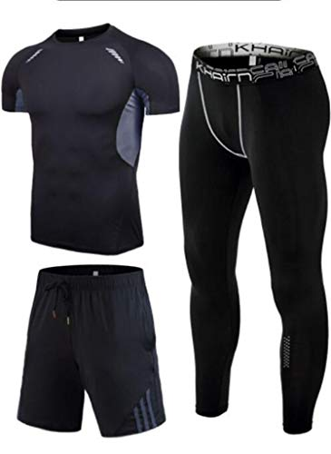 Traje Deportivo, Medias Pro de Secado rápido y Alto elástico for Hombres, Trajes de Fitness de Cuatro Piezas, Trajes de Entrenamiento de Baloncesto y fútbol (Color : H, Size : M)