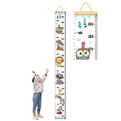 Tomedeks Tallímetro Para Niños, Tallímetro De Madera Con Tabla De Altura Colgante Desplazable, Decoración De Pared Para Jardín De Infantes Y Dormitorio, 7.87 X 76.8 Pulgadas (Colorful animals)