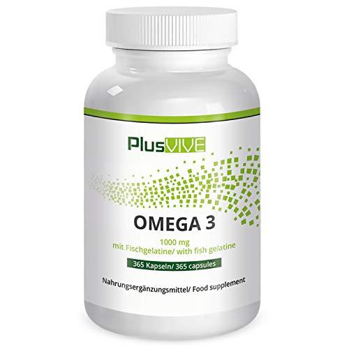 PlusVive - Omega 3 Kapseln - hochdosiert: 1000 mg Premium Fischöl pro Kapsel - Kapselhülle aus Fischgelatine - 365 Kapseln - Hergestellt in Deutschland