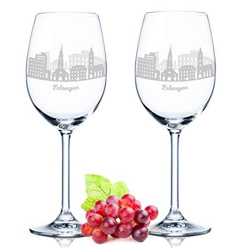 Leonardo Weinglas mit Gravur - Erlangen Geschenk im 2er Set - Weingeschenk - Souvenir Andenken und Mitbringsel - Geburtstagsgeschenk für Sie und Ihn