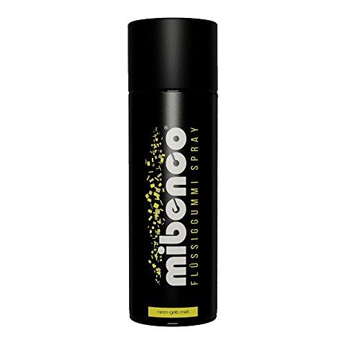 mibenco 71421026 Flüssiggummi Spray / Sprühfolie, Neon-Gelb Matt, 400 ml - Neue Farbe und Schutz für Oberflächen und zum Felgen lackieren