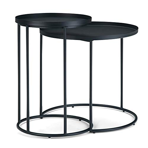 Simpli Home Monet Modern Industrial 24 inch Wide Metal 2 Pc Nesting Table in Black, Fully Assembled