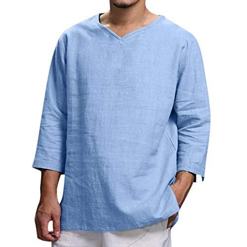 Men's Summer T-Shirt Cotton Linen Hippie Shirts V-Neck Beach Yoga Tee Top Blouse (2XL, Blue)