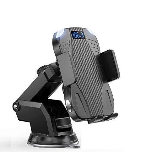 Kabelloses Kfz-Ladegerät mit Bluetooth-FM-Transmitter, 10 W, Qi, Schnellladehalterung, Autoklemme, Ständer für iPhone 12/11 Pro/11 Pro Max XS/XR/X/8/8+, Samsung Galaxy S10/S10+/S9/S9+/S8/S8+