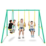 Swing Set for Backyard w/2 Seat Glider Outdoor Metal Swing Set Playground Lager Swing Sets for Old Kids, Toddlers Gift