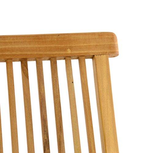 Nexos DIVERO 2er-Set Klappstuhl Teakstuhl Gartenstuhl Teak Holz Stuhl mit Armlehne für Terrasse Balkon Wintergarten witterungsbeständig behandelt massiv klappbar natur