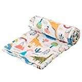 Busy Monkey Muslin Baby Swaddle Blanket-Dinosaur Dino Print-Luxurious-Soft and Silky-70% Bamboo 30% Cotton-Size 47x47 inch-Baby boy Nursing Cover-Wrap-Burp Cloth