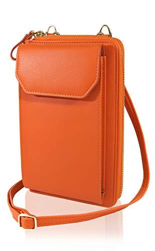 【BIGポケット版】スマホポーチ ポシェット お財布ポシェット ひと回り大きいポケット採用 ケースのまま収納 レディース シンプル ショルダー 財布 (オレンジ)