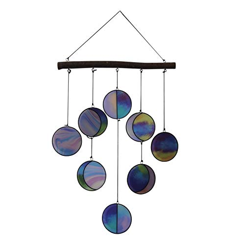 Snlaevx Clear and Rainbow Iridized Moon Phase Hanging -Celestial Art - Moon Phase Wall Decor - Stained Glass Moon Phase for Garden, Yard, Garden Office Ornament (Multi)
