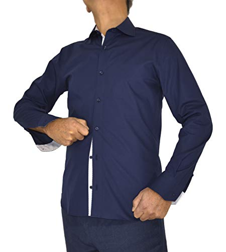 E. MECCI höstrea herrskjorta 100 % bomull blå smal passform långärmad