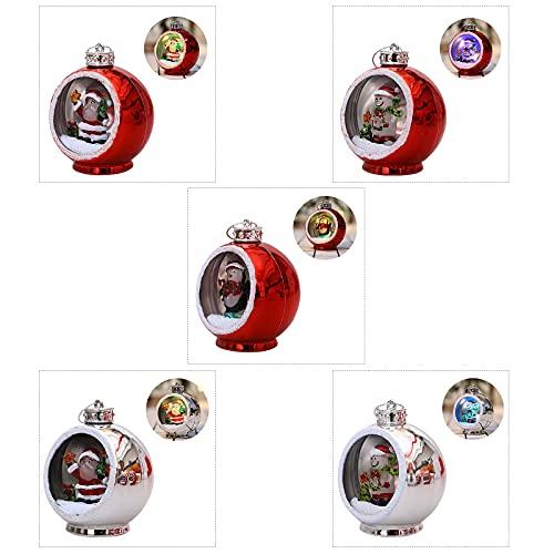 ZXCFTG 5 adornos de bolas de Navidad, bola de Navidad LED roja/plateada de 7,62 cm, relleno con muñeco de nieve, Papá Noel, pingüino y nieve colgante decorativo bolas de Navidad colgante para