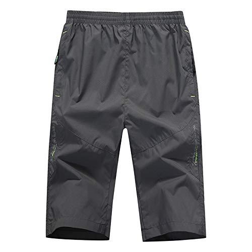 Hangyikj - Pantalones cortos para hombre, para deportes de verano, de secado rápido, pantalones cortos y finos, 5 puntos, M, L, XL, XXL, XXXL, 4XL, 5XL gris oscuro XXL