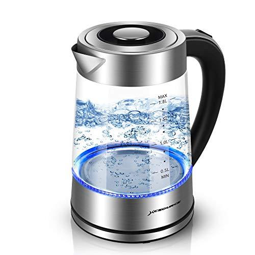 Glas Wasserkocher, 1,8L Elektrischer Glas Wasserkessel mit Blauem LED Licht, BPA-Frei Schnellheizender, Automatischer Abschaltung & Boil Dry Schutz, Edelstahl Innendeckel & Boden