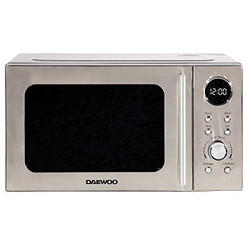 Daewoo 700W 20L Digital Microwave & 1000W Grill with 5 Power Levels and Defrost Function, 60 Minute Timer and End Alarm Sound, Child Safety Lock and Easy Clean Stainless Steel Body